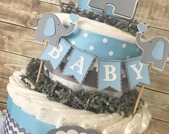 Elephant Baby Shower Diaper Cake in Blue and Grey, Elephant Baby Shower Centerpiece, Elephant Decorations