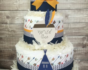 Tribal Diaper Cake in Navy, Yellow and Gray, Wild One Baby Shower Centerpiece, Boho Baby Shower