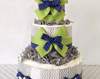 Designer Sports Theme Diaper Cake in Navy, Gray and Lime Green, Football Baby Shower  Centerpiece