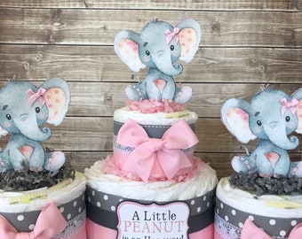 Set of 3 Elephant Diaper Cakes in Pink and Gray, Elephant Baby Shower Centerpieces