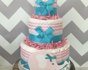 Elephant Diaper Cake in Pink and Teal, Elephant Baby Shower Centerpiece