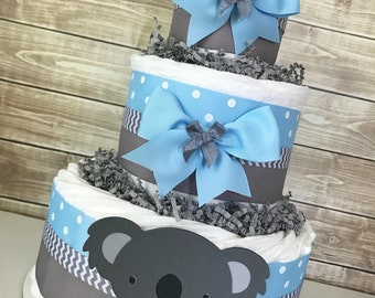 Koala Diaper Cake, Koala Baby Shower Centerpiece, Koala Decorations