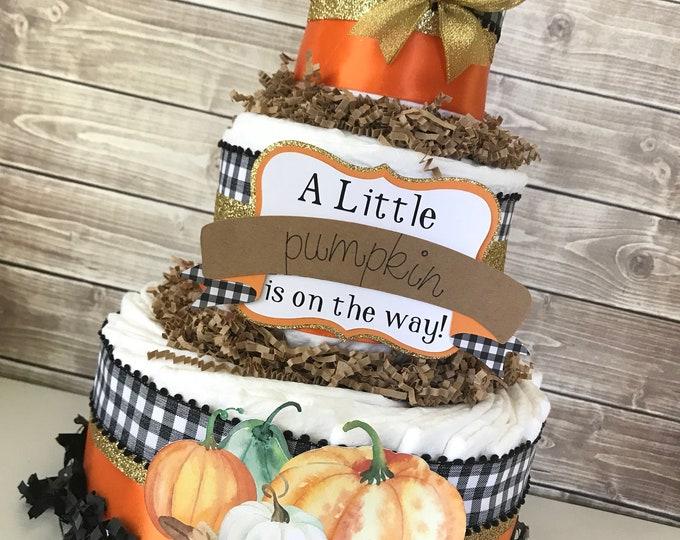 Featured listing image: A Little Pumpkin is on the way Diaper Cake, Little Pumpkin Baby Shower Centerpiece, Fall Baby Shower Decoration