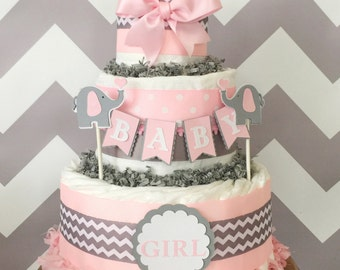 Elephant Diaper Cake in Pink and Grey, Elephant Baby Shower Centerpiece, Chevron Decorations