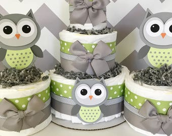 SET OF 3 Owl Diaper Cakes in Sage Green and Gray, Owl Baby Shower Centerpieces, Owl Baby Shower Decorations, Neutral Baby Shower Ideas