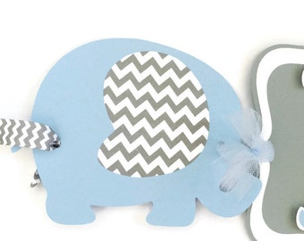 Its a Boy Elephant Baby Shower Banner in Blue and Gray, Elephant Chevron Baby Shower Decorations