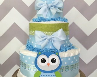 Owl Baby Shower Diaper Cake in Blue and Green, Boy Baby Shower Centerpiece