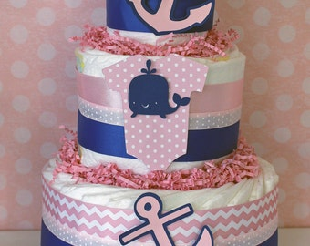 Nautical Baby Shower Centerpiece for Girls, Nautical Diaper Cake in Pink and Blue