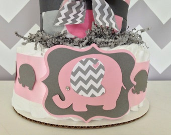 Chevron Elephant Baby Shower Diaper Cake, Pink and Gray Centerpiece
