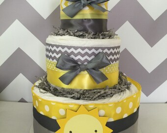 You are My Sunshine 3 Tier Diaper Cake in Yellow and Gray, You are My Sunshine Baby Shower Centerpiece