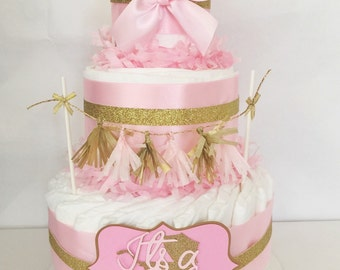 Pink and Gold Baby Shower Diaper Cake, Princess Pink and Gold Centerpiece
