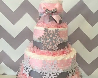 Little Snowflake Diaper Cake in Pink and Gray, Winter Baby Shower Centerpiece, Snowflake Decorations