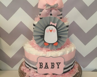 Penguin Diaper Cake for Girls, Penguin Baby Shower Centerpiece, Decorations