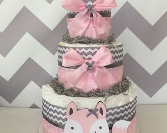 Woodland Diaper Cake in Pink and Grey, Fox Baby Shower Centerpiece in Pink and Gray