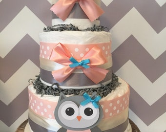 Owl Diaper Cake in Coral and Grey, Owl Baby Shower Centerpiece, Owl Decorations