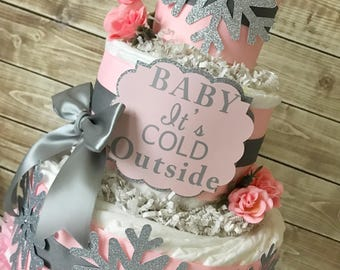 Baby It's Cold Outside Diaper Cake in Pink and Silver, Winter Baby Shower Centerpiece, Snowflake Baby Shower Decorations