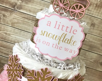 A Little Snowflake is on the Way Diaper Cake, Winter Baby Shower Centerpiece in Pink and Gold