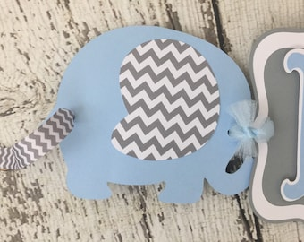 Elephant Banner in Blue and Gray, Elephant Baby Shower Banner, Decorations