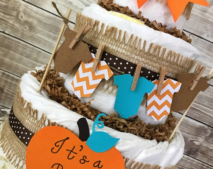 Featured listing image: Fall Baby Shower Diaper Cake, Fall Boy Diaper Cake, It's a Boy Baby Shower Centerpiece