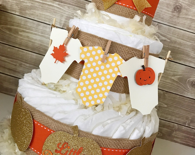 Featured listing image: Fall Baby Shower Centerpiece, Fall Baby Shower Diaper Cake, Autumn Pumpkin Baby Shower Decorations