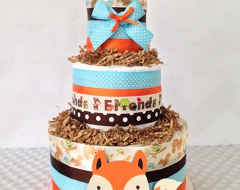 Forest Friends Woodland Theme Diaper Cake, Wiodland Theme Baby Shower Centerpiece, Fox Diaper Cake for Boys