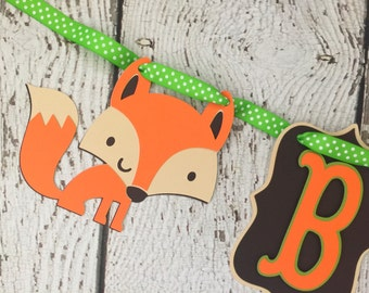 Woodland Baby Shower Banner in Brown, Lime Green, Tan and Orange, Fox Baby Shower Baby Banner