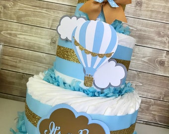 Hot Air Balloon Diaper Cake for Boys, Up Up and Away Baby Shower Centerpiece in Blue and Gold