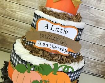 A Little Pumpkin is on the way Diaper Cake, Little Pumpkin Baby Shower Centerpiece, Fall Baby Shower Decoration