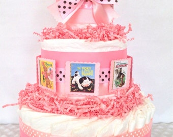 Book Baby Diaper Cake in Pink and Brown, Book Themed Baby Shower Centerpiece