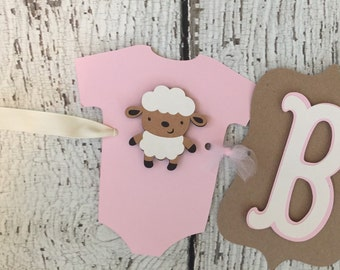 Rustic Lamb Baby Shower Banner, Baby Girl Baby Shower Decoration, Shabby Chic