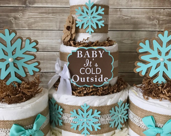 Featured listing image: Rustic Winter Diaper Cake in Tiffany Blue, Burlap and Lace, Baby It's Cold Outside Baby Shower Centerpiece