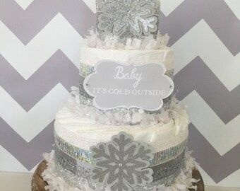 Baby It's Cold Outside Diaper Cake in Silver and White, Baby It's Cold Outside Baby Shower Centerpiece, Snowflake Decorations