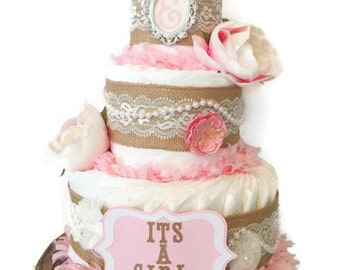 Shabby Chic Vintage Style Boutique Diaper Cake in Burlap and Pink, Shabby Chic Baby Shower Centerpiece