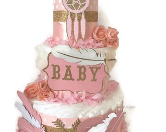 Pink and Gold Tribal Diaper Cake, Tribal Theme Baby Shower Decoration, Centerpiece