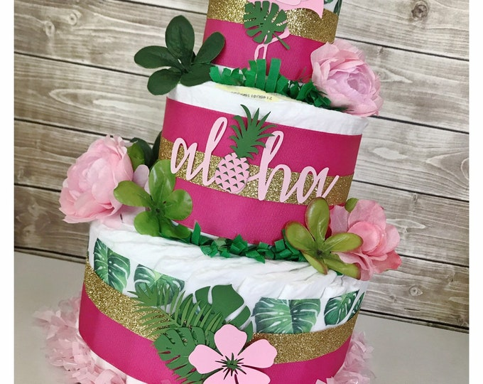 Featured listing image: Tropical Diaper Cake, Aloha Baby Shower Centerpiece, Tropical Baby Shower Decor for Girls