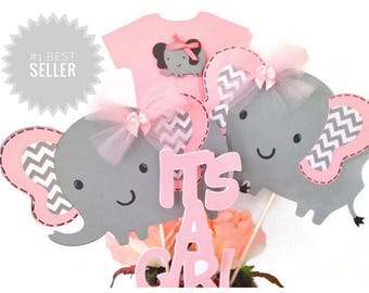 Pink And Gray Elephant Baby Shower Centerpiece, Pink and Gray Baby Shower Decorations