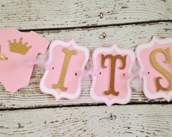It's a Girl Pink and Gold Princess Baby Shower Banner, Princess Crown Baby Shower Banners