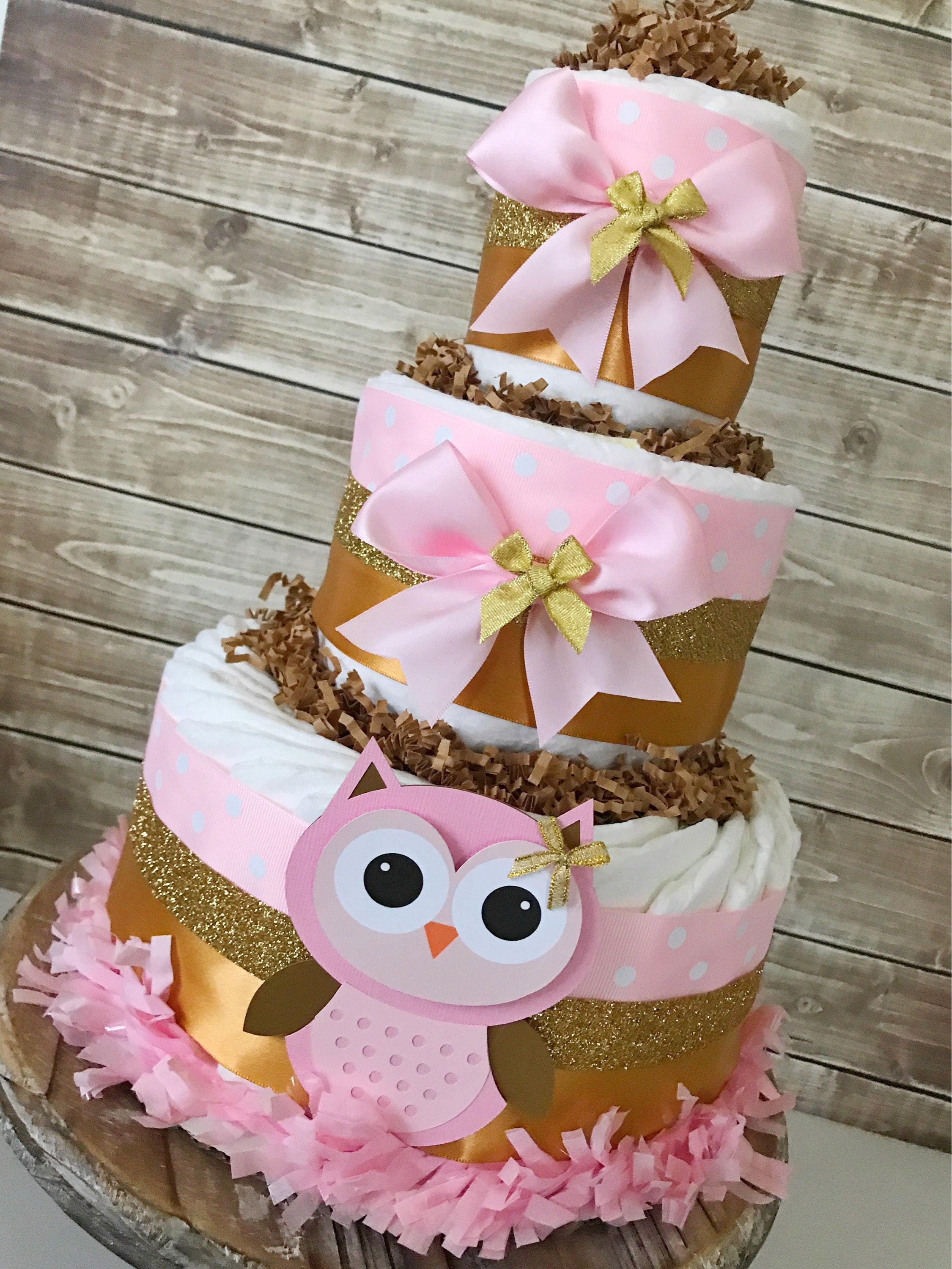 Owl Diaper Cake In Pink And Gold Owl Baby Shower Centerpiece Pink