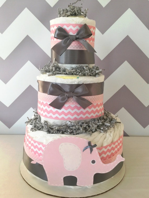 Chevron Elephant Diaper Cake In Pink And Grey Elephant Baby Etsy