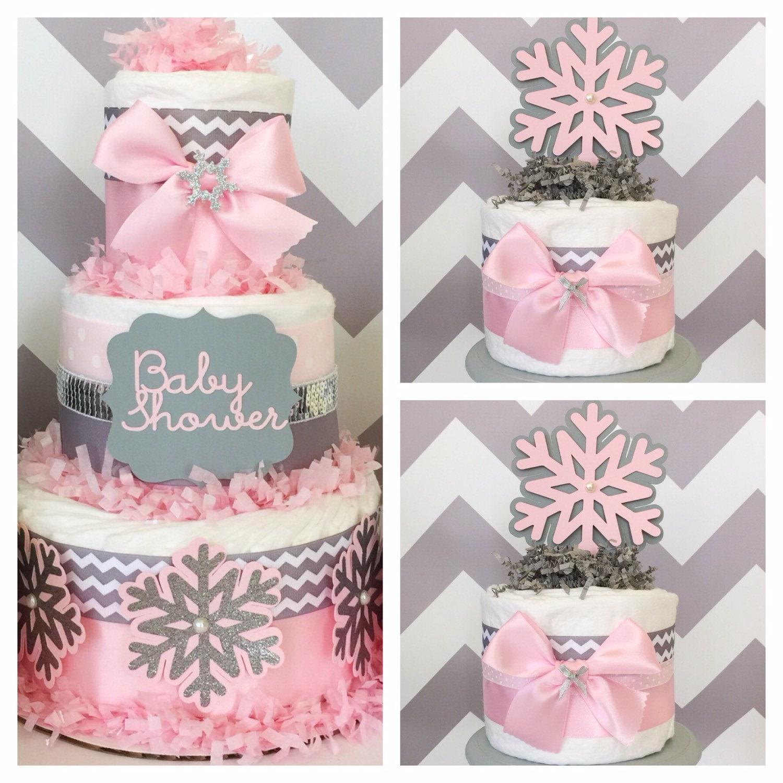 Chevron Winter Wonderland Diaper Cakes Winter Wonderland Baby