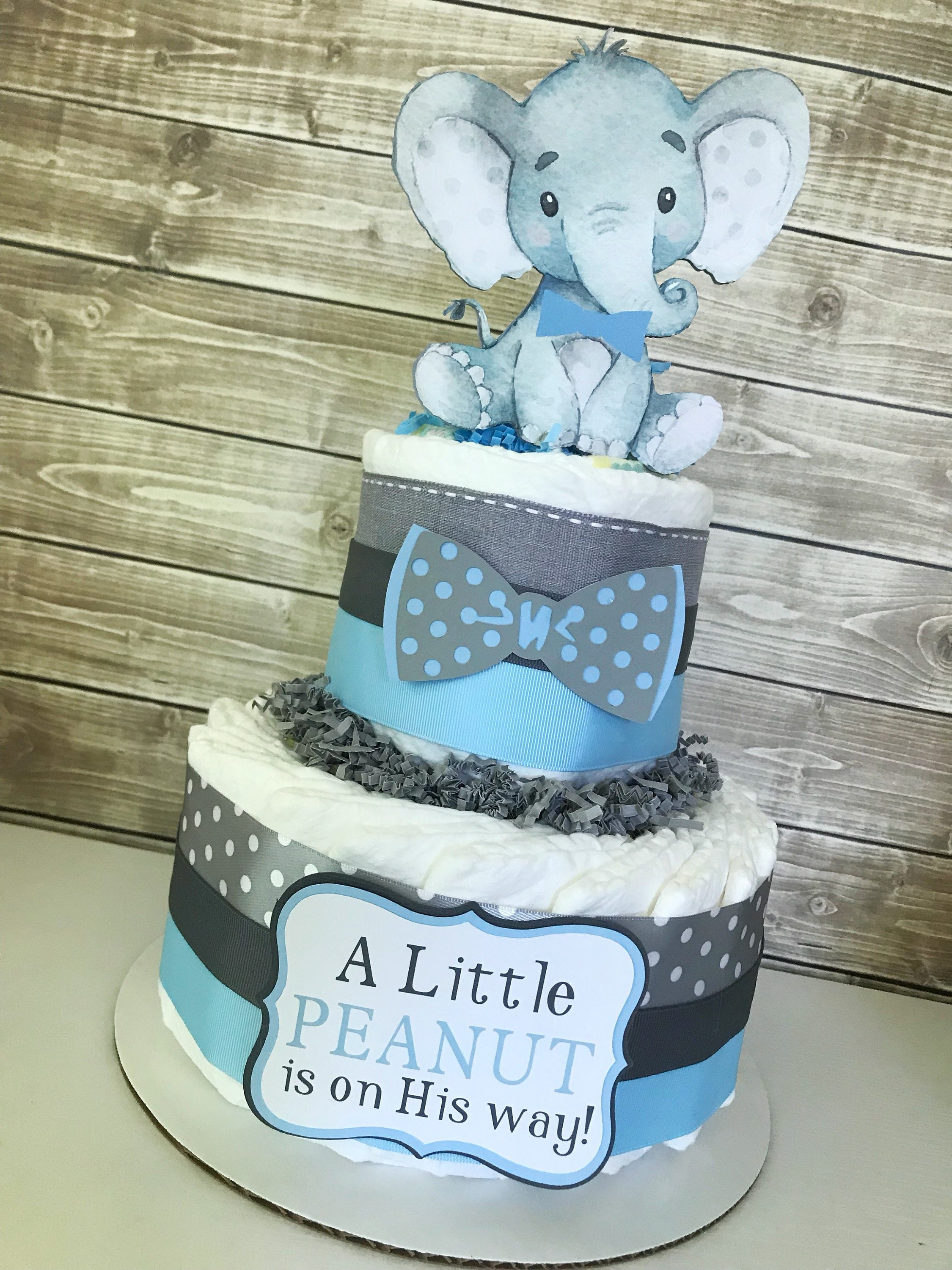 Elephant Diaper Cake For Boys Little Peanut Baby Shower Centerpiece