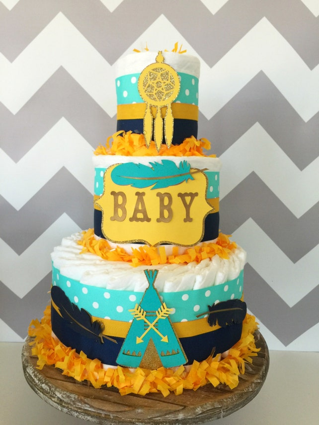 Tribal Diaper Cake in Teal Navy and Mustard Yellow Tribal | Etsy