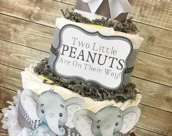Twin Little Peanuts Diaper Cake, Twins Elephant Baby Shower Centerpiece, Elephant Baby Shower Decorations for Twins