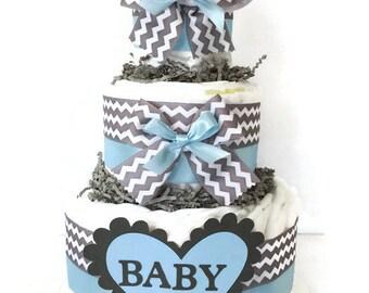 Chevron Blue and Grey Diaper Cake, Boy Baby Shower Centerpiece, Blue and Gray Baby Diaper Cake