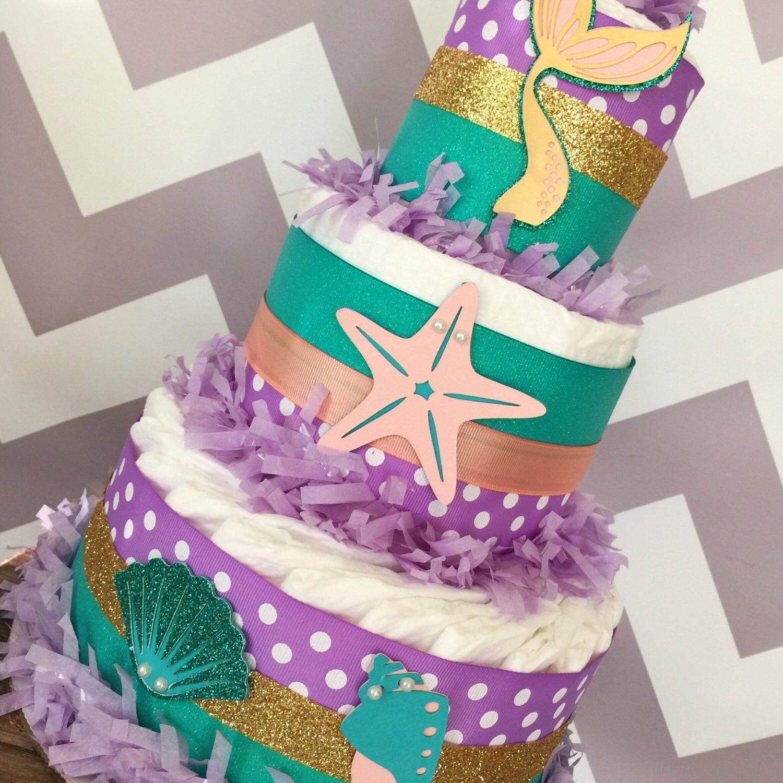 Mermaid Diaper Cake Under The Sea Baby Shower Centerpiece Mermaid