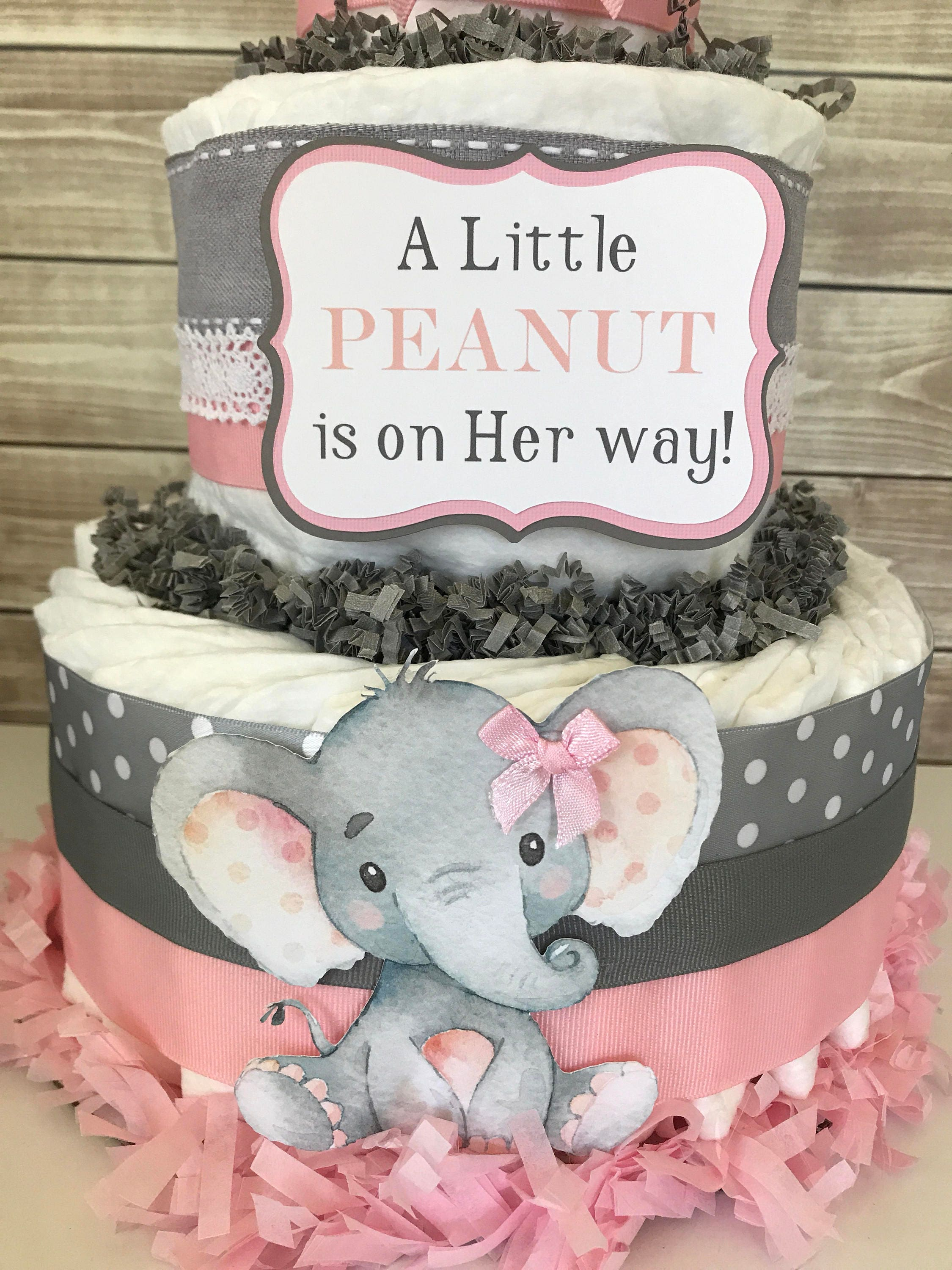 A Little Peanut Is On Her Way Diaper Cake Elephant Baby Shower
