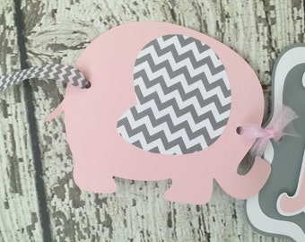Chevron Elephant Baby Shower Banner, Pink and Gray Baby Shower Banner
