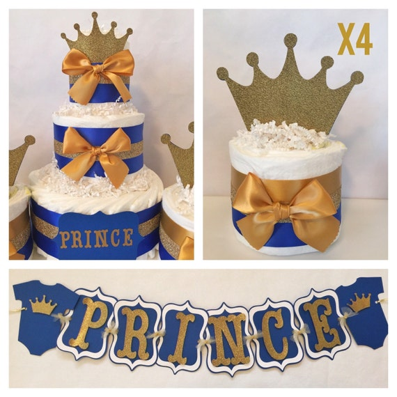 Prince Baby Shower Party Package In Royal Blue And Gold Etsy