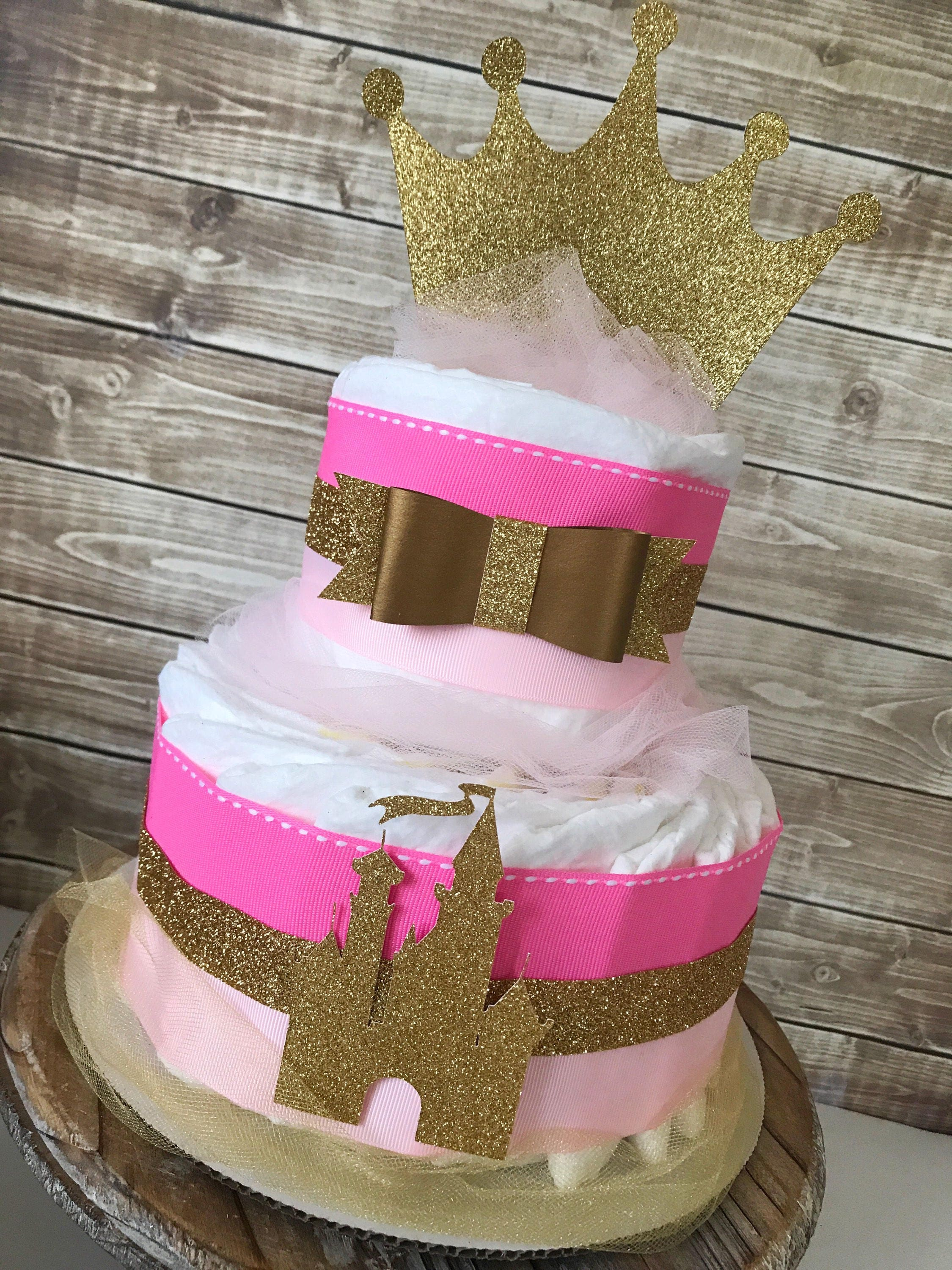 Princess Diaper Cake In Pink And Gold Princess Crown Baby Shower