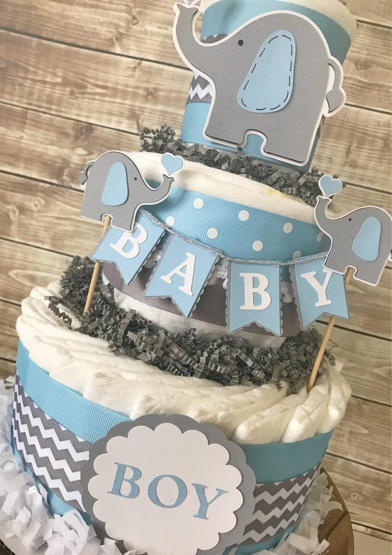 Elephant Baby Shower Diaper Cake In Blue And Grey Elephant Etsy